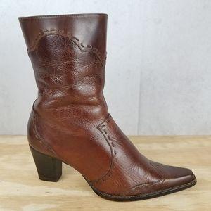 Eddie Bauer Leather Zip Calf Heeled Fashion Boots